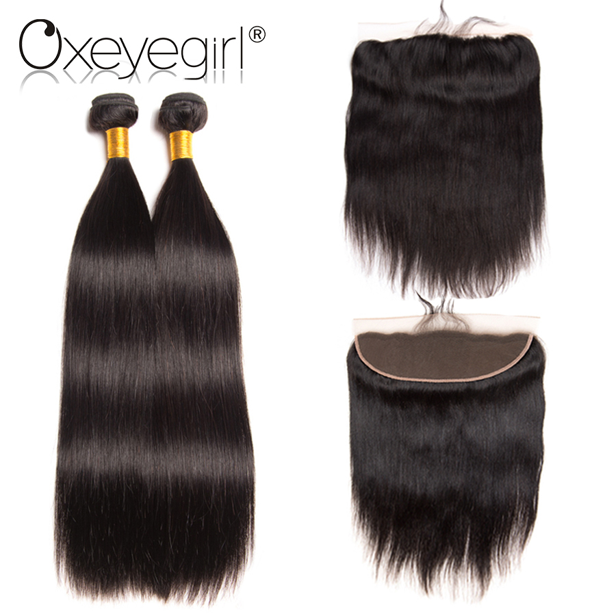 Human Hair Bundles With Closure Straight Brazilian Hair Weave Bundles With 4x13 Lace Frontal Natural Color Non Remy Oxeye girl