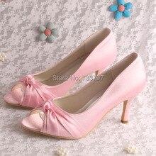 ที่กำหนดเองที่ทำด้วยมือผู้หญิงขนาดบวกรองเท้าแต่งงานสีชมพูเปิดนิ้วเท้าDropship