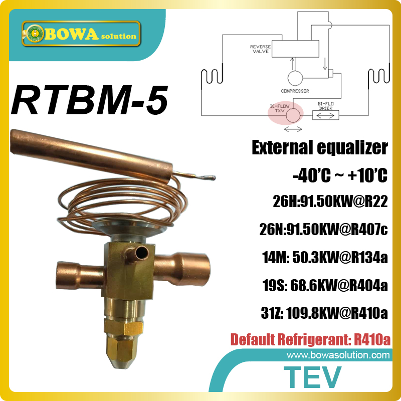 RTBM-5 bi-flow expansion valve is instsalled in new energy equipments, such as heat pump air chambers or clother dryers 26rt cooling capacity thermostatic expansion valve is suitable for water chiller or heat pump equipments r410a txv avaliable
