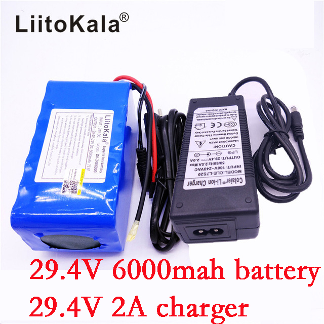 HK LiitoKala 24V 6Ah 7S3P 18650 Battery li-ion battery 29.4v 6000mah electric bicycle moped /electric +2A charger liitokala 2pcs li ion 18650 3 7v 2600mah batteries rechargeable battery with portable battery box and 2 slots usb smart charger