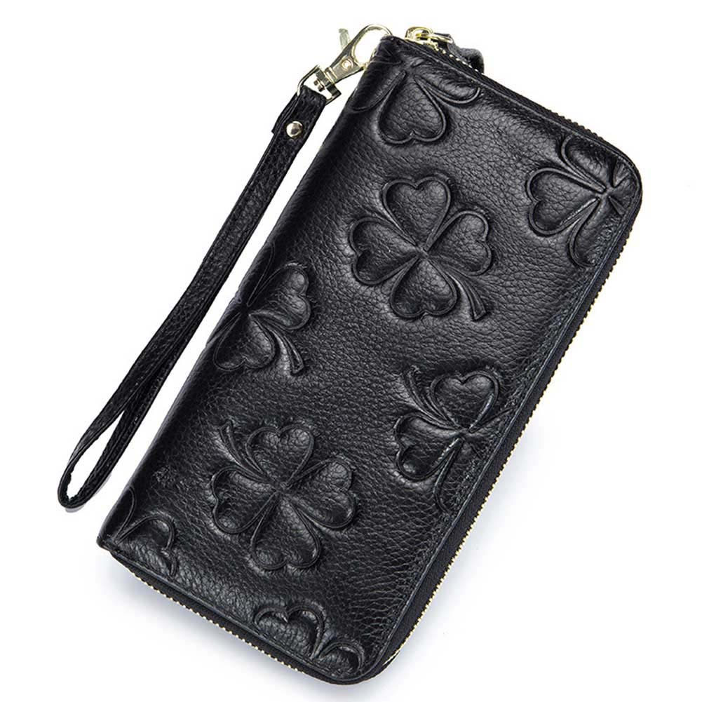 Genuine Leather Clover RFID Clutch Wallet Ladies Long Style Large Capacity Wallet Women Zipper Purse Card Holders Female