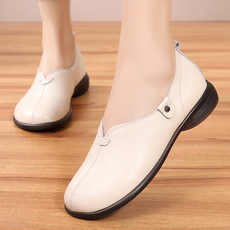 Genuine Leather comfortable non slip soft bottom handmade sewing casual lazy shoes flat flats leather pregnant