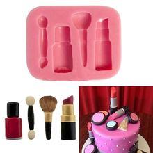 Makeup Tools Design Lipstick Fondant Cake Molds 3D Silicone Soap Chocolate Candy Decorative baking Bakeware FA5-13L