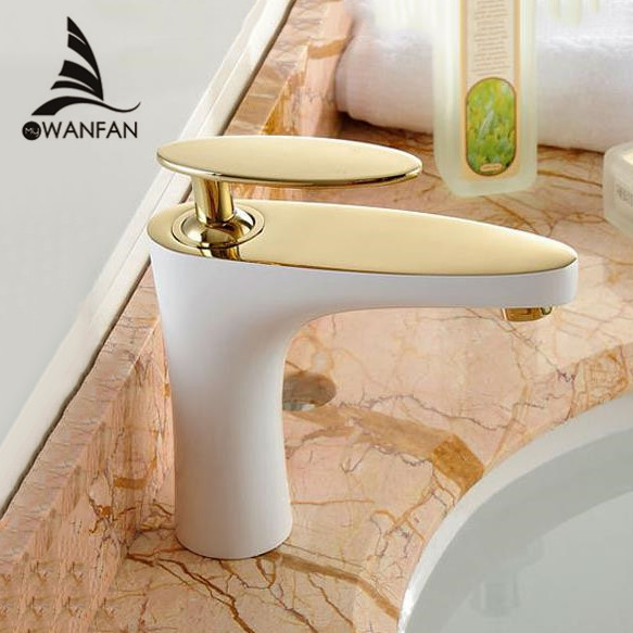 Basin Faucets Brass Elegant Golden White Bathroom Sink Faucet Single