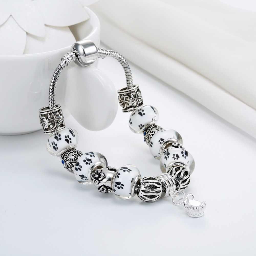 Cxwind moda ślad psiej łapy kwiat szkło murano i kryształowe europejskie paciorki pasuje styl diy serce Charms bransoletki dla kobiet