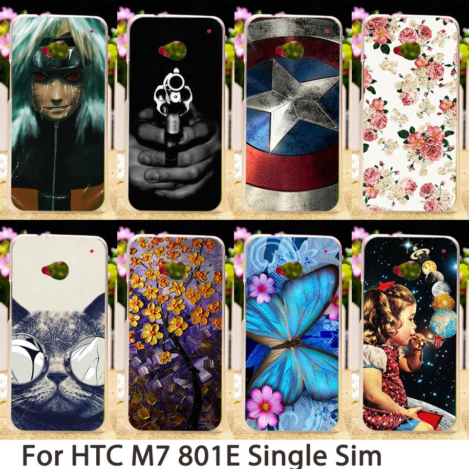 TAOYUNXI Soft Mobile Smartphone Cases For HTC ONE M7 801E 801S Single Sim 801 4.7 inch Cases Hard Back Cover Skin Bags