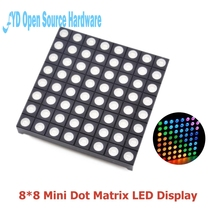 10 adet tam renkli 8x8 8*8 Mini nokta matris LED ekran kırmızı yeşil mavi RGB ortak anot dijital tüp ekran Diy için 60mm x 60mm x 5mm