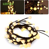LEDGLE 2.5M 72Leds Outdoor Lighting LED Ball String Lamps Black Wire Christmas Lights Fairy Wedding Garden Pendant Garland