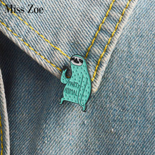 Cartoon sloth enamel pin Party animal badge brooch Mint green Lapel pin for Denim Jeans shirt bag Funny jewelry Gift for friends(China)