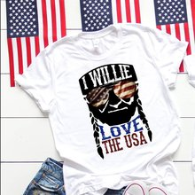Women Fashion July 4th Willie Nelson T-shirts Lady Funny Graphic Maching Tees Couple Holiday Tops &tee Casual O Neck Cotton