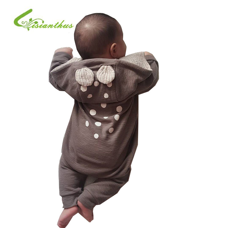 Spring Autumn Baby Rompers Cute Cartoon Reindeer Long-sleeve Infant Girls Boys Jumpers Kids Newborn Baby Outfits Clothes