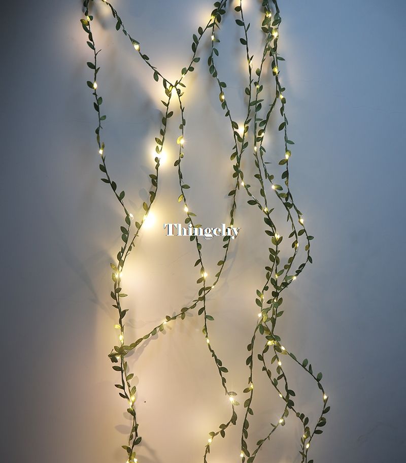 Guirnalda de hojas pequeñas, guirnalda de luces led con batería de alambre de cobre, guirnalda de luces para bodas, mesa de bosque, decoración de fiesta en casa de Navidad