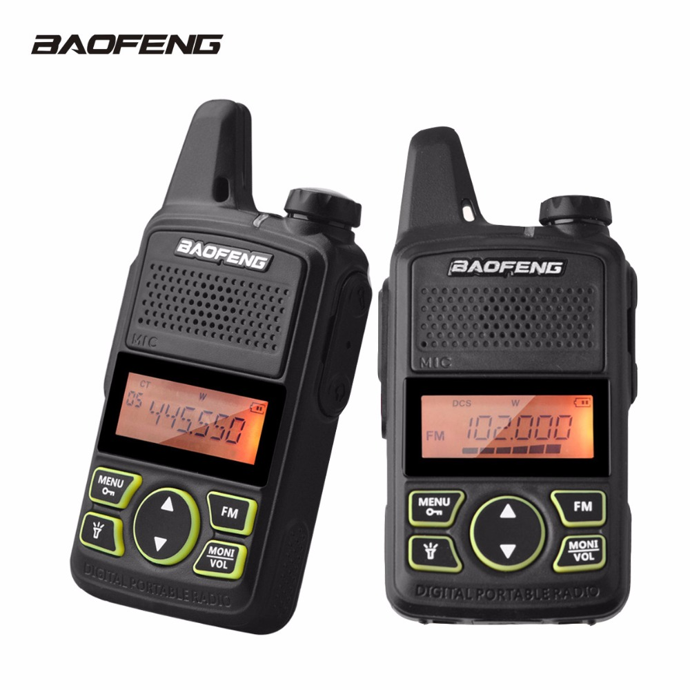 2 Pcs Baofeng T1 Talkie Walkie BF-T1 MINI Two Way Radio UHF 400-470 mhz 20CH FM lampe de Poche De Poche émetteur-récepteur Portable Ham Radio