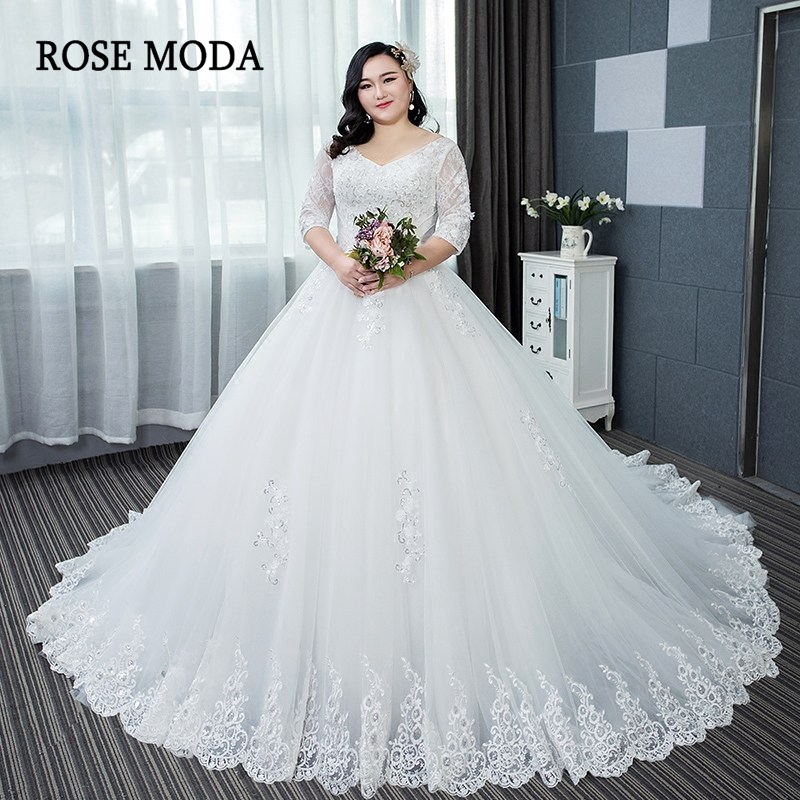 US $269.0 |Rose Moda Long Sleeves Plus Size Wedding Dress 2019 Long Train  Princess Lace Wedding Ball Gown Custom Make-in Wedding Dresses from  Weddings ...