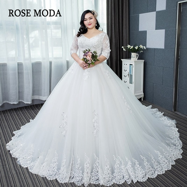 Rose Moda Long Sleeves Plus Size Wedding Dress 2019 Long Train ...