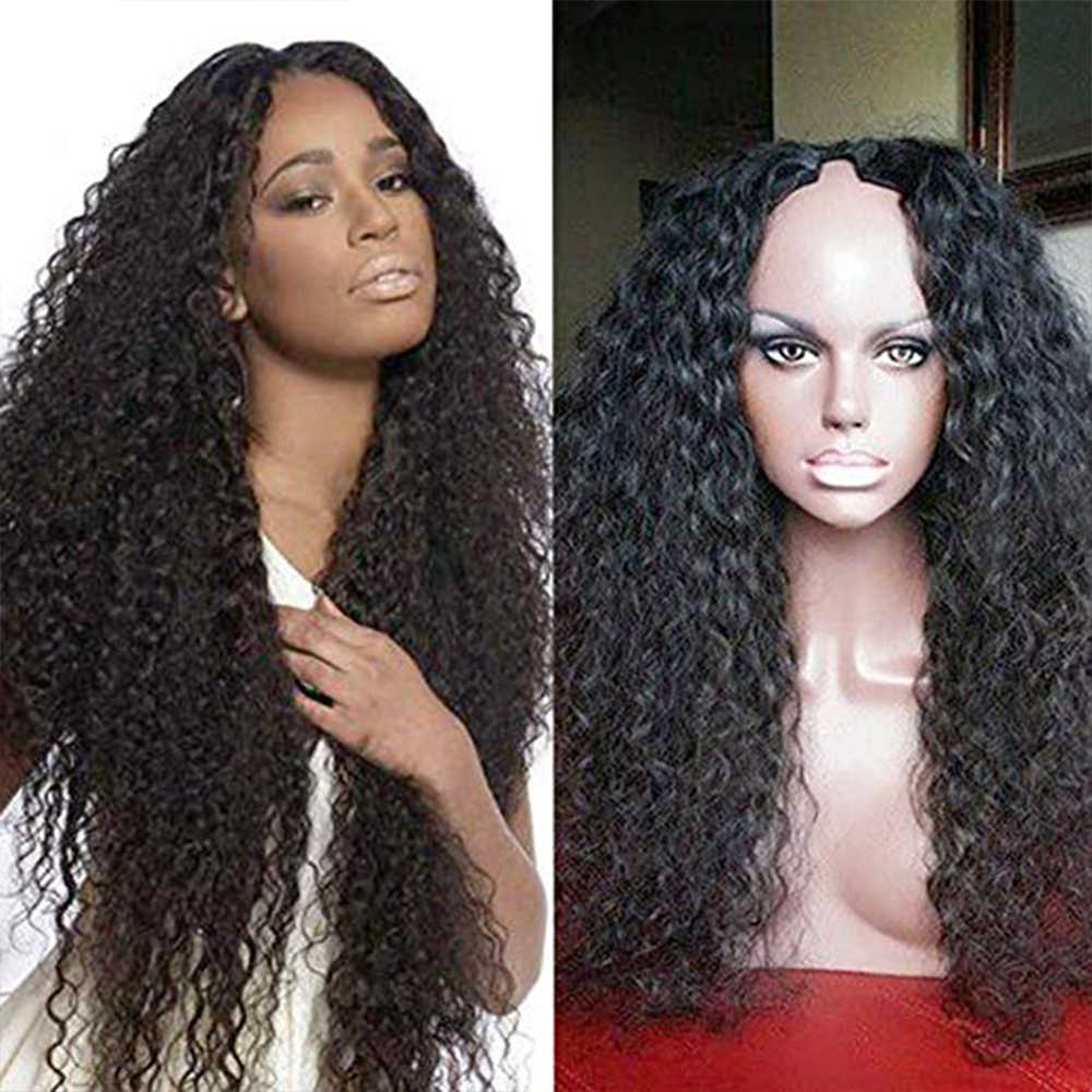 SimBeauty 100% Unprocessed Brazilian Remy Hair Curly U Part Wigs 100% Human Hair Middle Opening Wig With Combs For Black Women