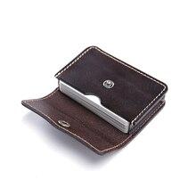 teemzone  Genuine Leather ID Credit Cards Pocket Business Holder Large Capacity Certificate Card Men Buckle Closure Bag M168