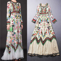 Embroidery Dress 2017 Summer Fashion New European Runway Colorful Flowers Mesh Long Sleeve Ankle length Lece Embroidery Dresses