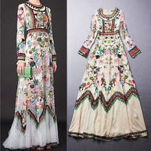Embroidery Dress 2017 Summer Fashion New European Runway Colorful Flowers Mesh Long Sleeve Ankle-length Lece Embroidery Dresses