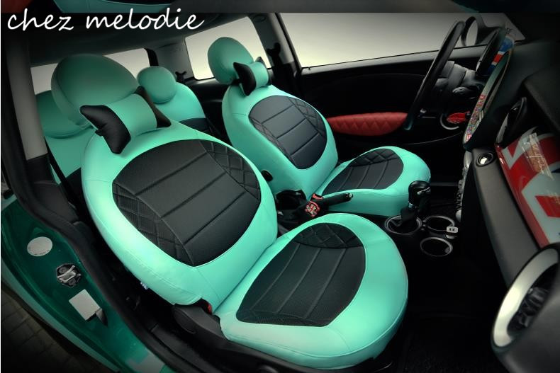 PU 1 set car seat covers+1 pair head support for BMW MINI cooper 2-door F56/Countryman 5-door F55/Clubman/2007-2012 R56 2016 mini clubman one coopers side door power window switch center console panel covers accessories car stickers for f54 6 door page 7