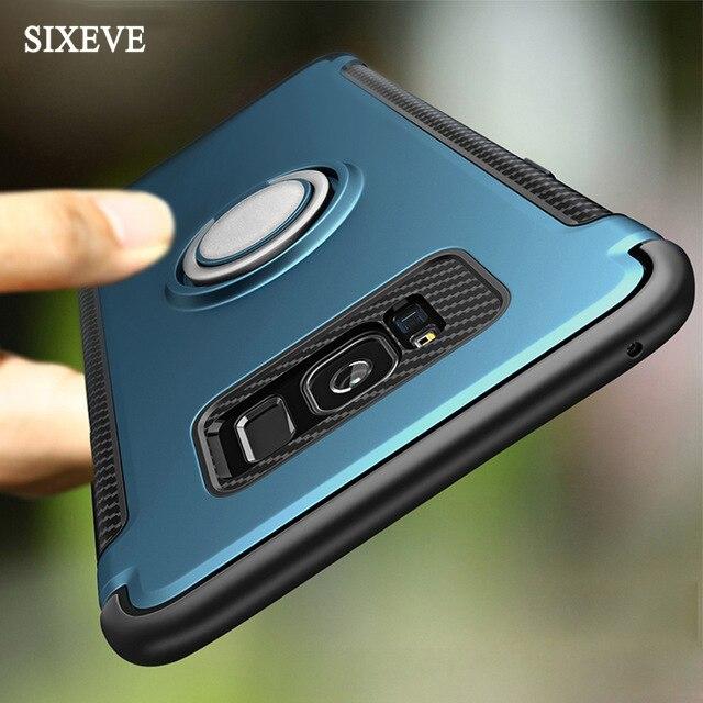SIXEVE Luxury Armor Case For Samsung J2 J5 J7 Prime J3 J5 J7 2016 2017 EU S7 Edge S8 S9 Plus Stand Shockproof Finger Ring Cover