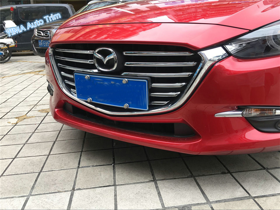 Lapetus For Mazda 3 AXELA Hatchback Sedan 2017 2018 ABS Auto Accessory Bright Front Face Grille