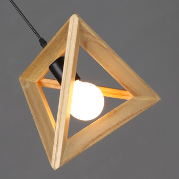 îlot De Cuisine En Bois Massif | Suspension Triangle En Bois Massif Nordique Loft Cuisine Ilot Lampe à Suspension Moderne LED Triangle Lampe à Suspension En Bois éclairage De Chevet