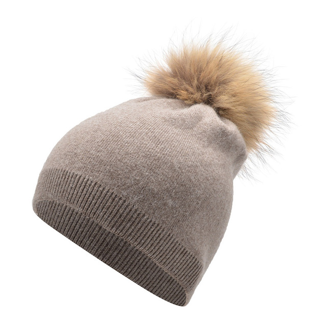2016 Autumn Winter Knitted Wool Hats For Women Fashion Pompon Beanies Fur Hat Warm Caps With Natural Genuine Raccoon Fur Cap