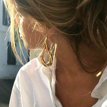 1596164dc121 RONGBIN marca Oro metálico grande geometría pendientes para las mujeres  moda Irregular grandes pendientes 2018 Brincos