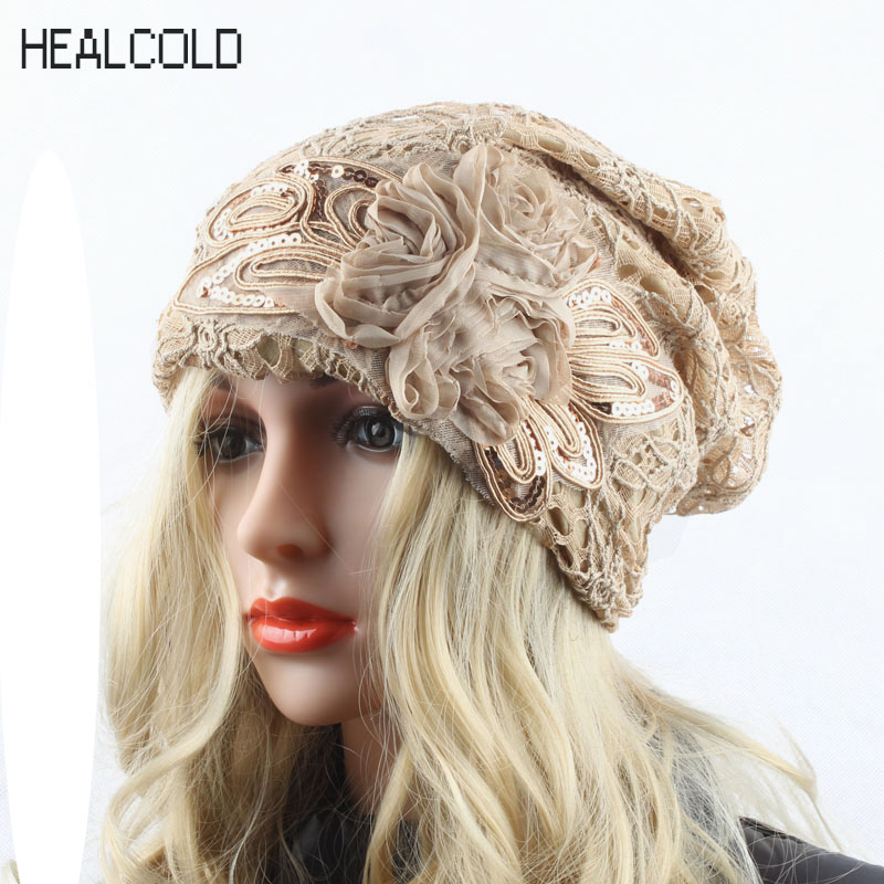 2017 Autumn Winter Beanie Hat For Women Lace Beanies Ladies Indoor Casual Skullies Cap Hats 2017 new lace beanies hats for women skullies baggy cap autumn winter russia designer skullies