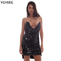 YGYEEG Summer 2017 Women Lady New Sexy V-Neck Halter Sequins Metallic Color Spaghetti Backless Package Hip Mini Party Dresses