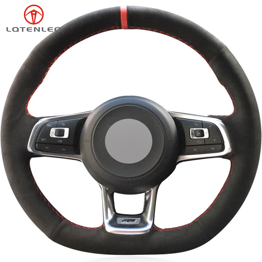 LQTENLEO Black Suede Hand stitched Car Steering Wheel Cover for Volkswagen Golf 7 GTI Golf R