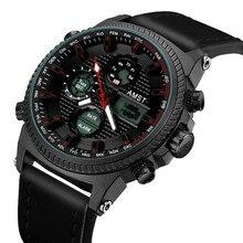 AMST askeri saatler 50M su geçirmez deri kayış LED saatler erkekler üst marka lüks Quartz saat reloj hombre Relogio Masculino