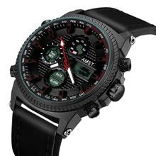 AMST montres militaires 50M bracelet en cuir étanche montres LED hommes haut de gamme montre à Quartz de luxe reloj hombre Relogio Masculino