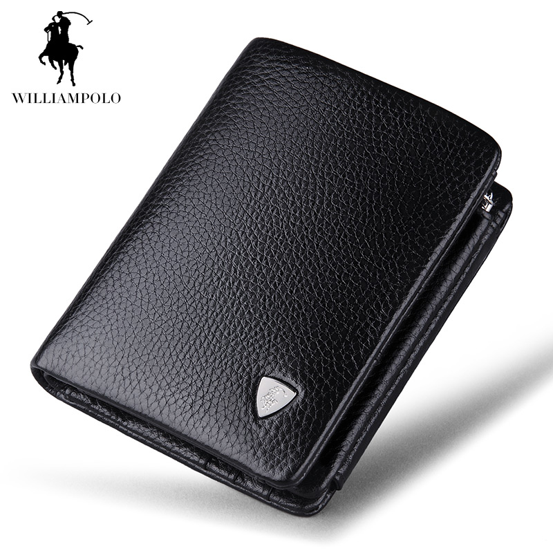 aaf2bd34ef88e Luxury Brand TIME LIMITED SELL WilliamPOLO 2017 Italian Genuine Leather 3  fold Card Holders Short Coin Purse POLO138 free shipping worldwide