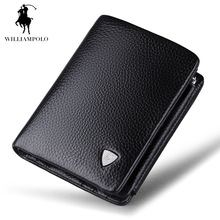 Luxury Brand TIME LIMITED SELL WilliamPOLO 2017 Italian Genuine Leather 3 fold Card Holders Short Coin Purse POLO138