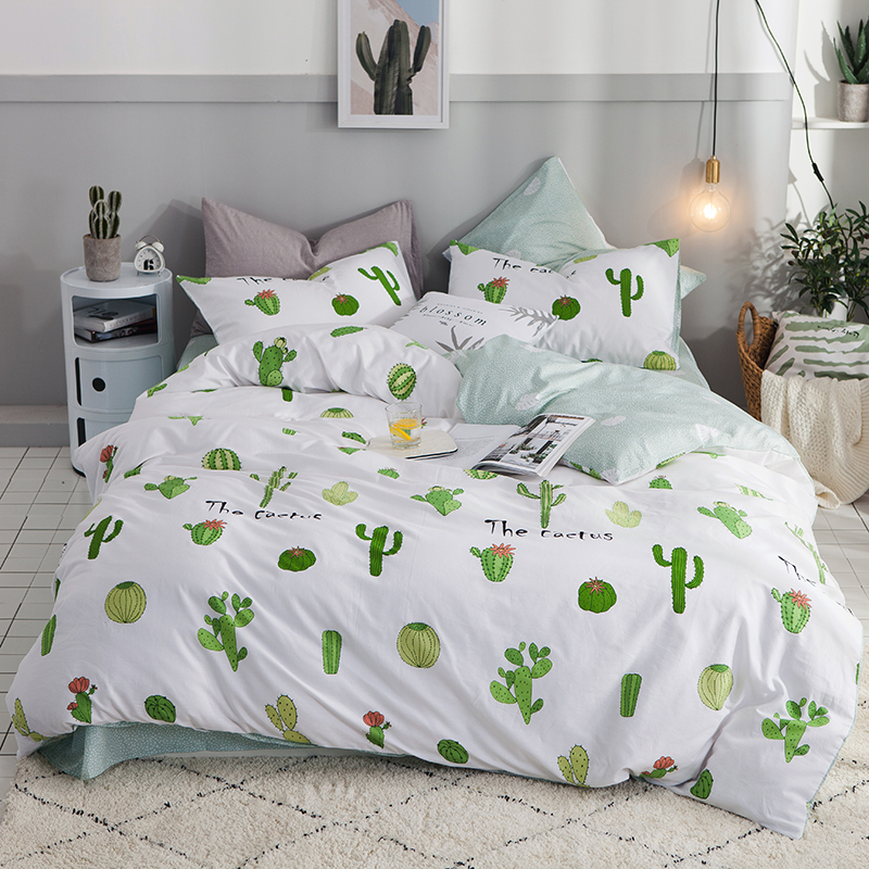 2018 Green Cactus White Bedding Set Cotton Twin Queen Size 3/4Pcs Print Duvet Cover Flat Sheet/Fitted Sheet Pillowcases