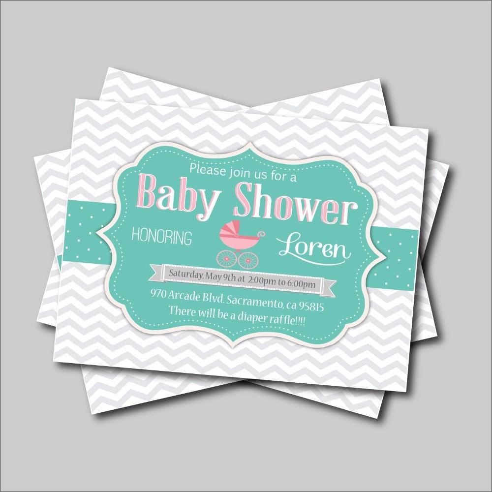Online Shop 20 Pcslot Custom Grey Chevron Baby Shower Invitations