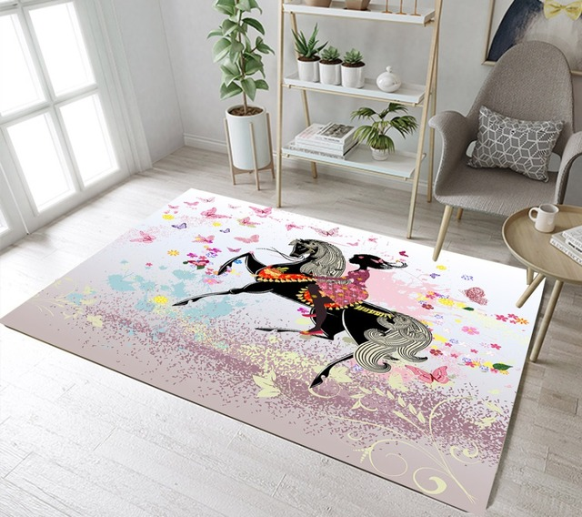 Lb Horse Butterfly Flower Black Girl Unicorn Fairy Tales Area Rug