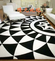 WINLIFE European Fashion Black And White Carpet, The Sitting Room The Bedroom Tartan Rug, Acrylic Carpets