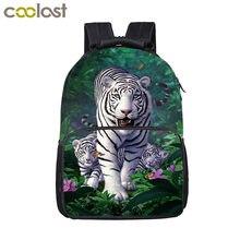 397971de8428 Прохладный Harajuku белый тигр Рюкзак для детей-подростков Школьные ранцы  Обувь для мальчиков для девочек