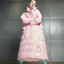 Зимняя женская куртка, новинка, высокое качество, женский длинный пуховик, большой размер, свободный, 90% белый утиный пух, куртка для женщин, плотное теплое пальто
