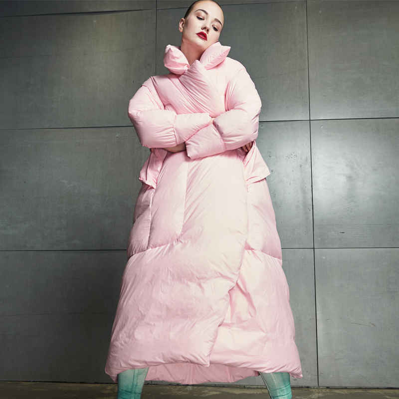 Зимняя куртка женская 2018 Новый высокое качество женский длинный пуховик большой размер свободный 90% белый утиный пух куртка Женская Толстая теплая куртка