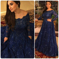 Plus Size Vintage Evening Dresses 2016 Elegant Beaded Navy Blue Long Sleeve Party Red Carpet Celebrity