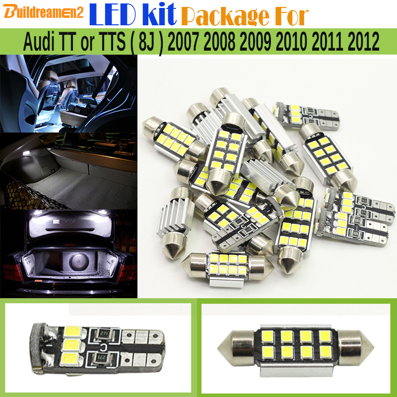 Buildreamen2 Car 2835 Interior LED Bulb White Error Free LED Kit Package Map Dome Trunk Light For Audi TT or TTS (8J) 2007-2012 xenon white 1 50 36mm 6418 c5w canbus led bulbs error free for audi bmw mercedes porsche vw interior map or dome lights