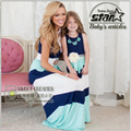 Mãe e Filha Vestidos de Correspondência de 2016 Mãe Verão e Crianças Meninas Roupas Combinando Vestido Da Listra Família Roupas Combinando