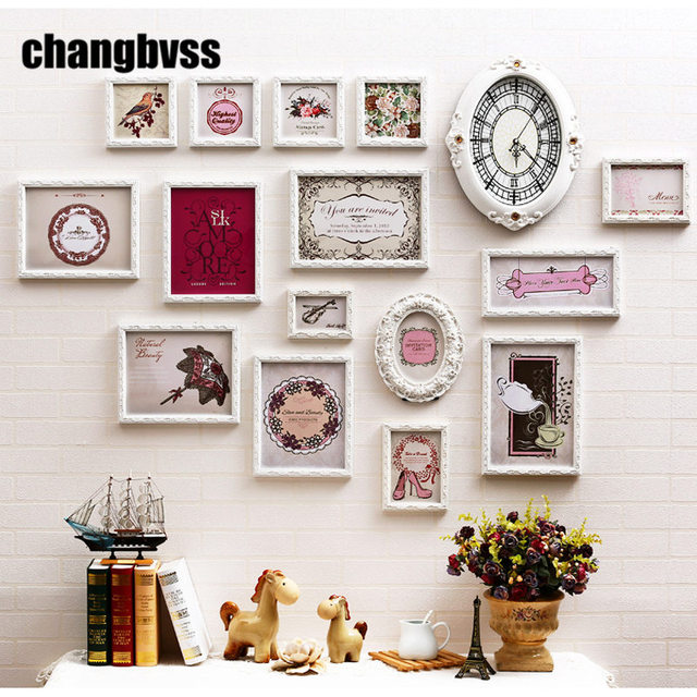 European Style White /Pink Solid Wood Carved Frames Home Decor 15 ...