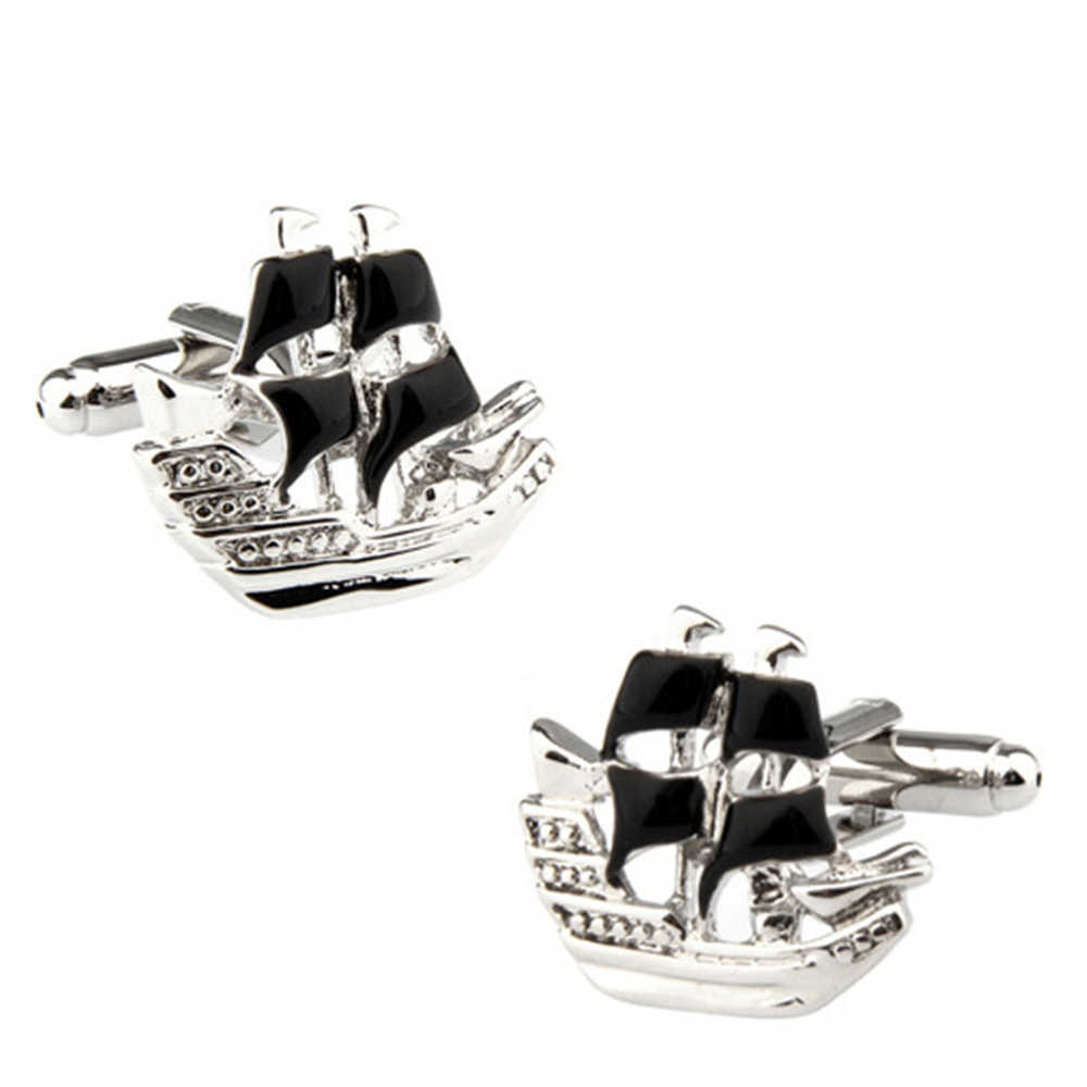 Way Deng - Fashion Men Black Enamel Plated Metal Copper Cufflinks Pirate Ship Look Tuxedo Shirt Cuff Links Buttons - YC091