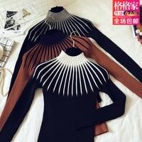 Dichten boden hemd langarm-rollkragenpullover halb schwarze gestrickte pullover weibliche rückendeckung bluse