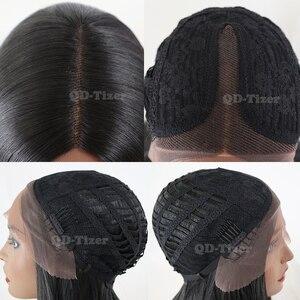 Image 4 - QD Tizer שיער ארוך ישר שיער תחרה פאות טבעי רך שיער Glueless חום עמיד סינטטי תחרה קדמית שחור נשים